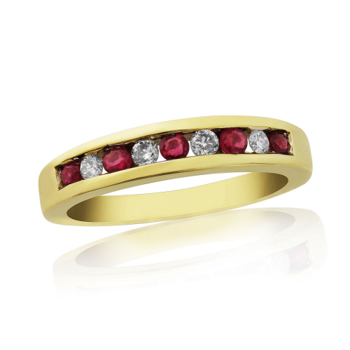 Yellow Gold Channel Set Ruby And Diamond Eternity Ring